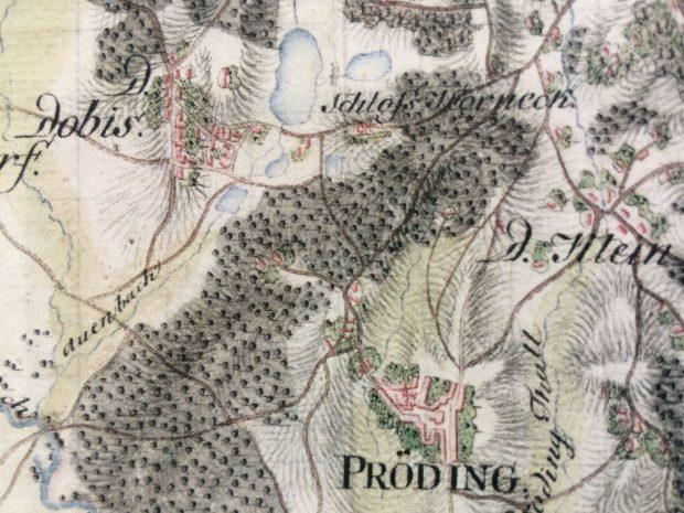 """Der Ausschnitt aus der """"Josefinischen Kriegskarte"""" um 1788 zeigt die barocke Teichanlage unterhalb des Schlosses"""