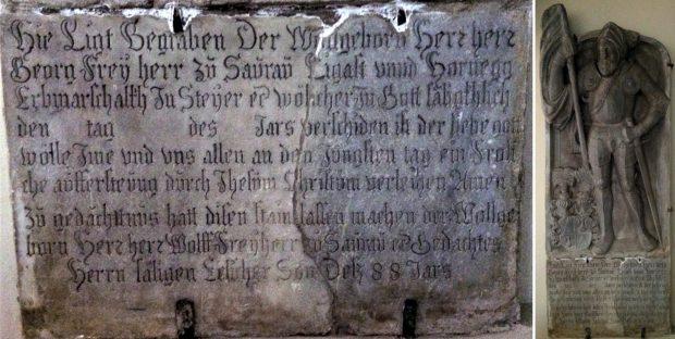 Grabstein des Georg Saurau in der Dorfkirche von Preding Ritter zu Horneck