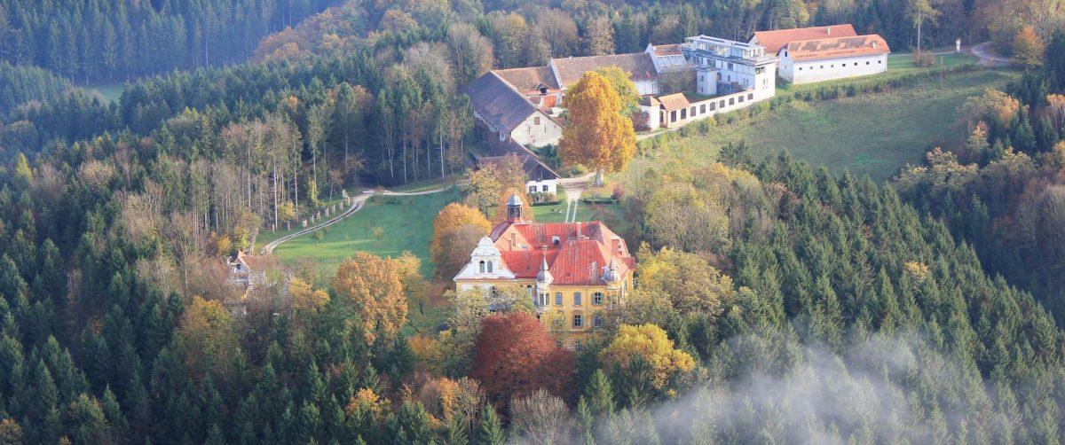 Blick aus der Luft über Gutshof und Schloss